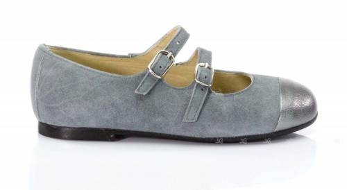 Grey Suede Double Buckle Strap Mary Jane