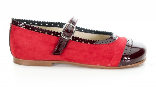 Burgundy Patent & Red Suede Leather Mary Janes