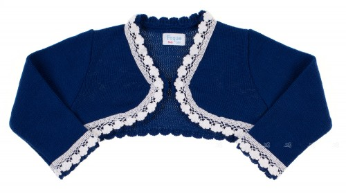 Blue & White Knitted Bolero Cardigan