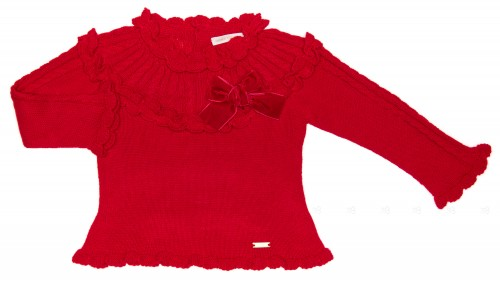 Red Knitted Sweater With Velvet Bow