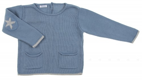 Blue Knitted Sweater with Star Elbow Patch