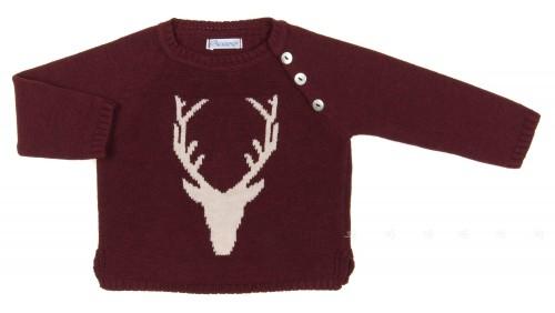 Burgundy & Beige Moose Sweater