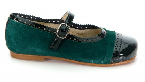 Bottle Green Patent & Suede Leather Mary Janes
