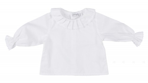 White Cotton Blouse with Ruffle Lace Collar