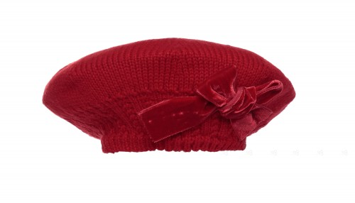 Red Knitted Beret with Velvet Bow