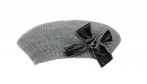 Gray Knitted Beret with Velvet Bow