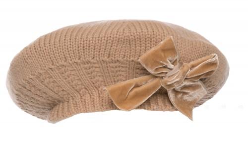 Beige Knitted Beret with Velvet Bow