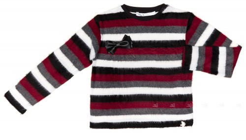 Gray & Burgundy Striped Sweater With Bow Brooch