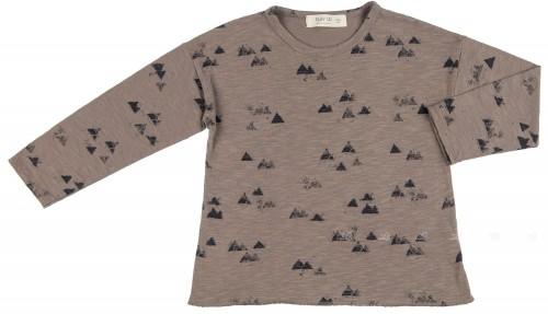 PLAY UP  Camiseta Niño Algodón Orgánico Estampado Triángulos Gris