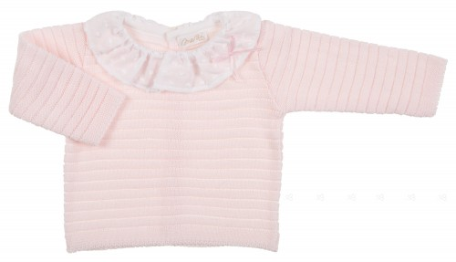 Baby Pink fine knitted sweater with ruffle collar & bow