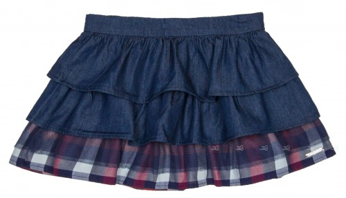 Girls Denim & Tartan Ruffle Skirt