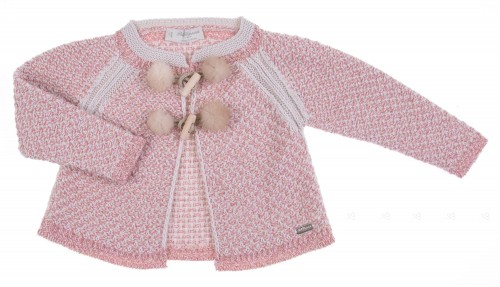 Pale pink tweed knitted cardigan with pom-pom detail