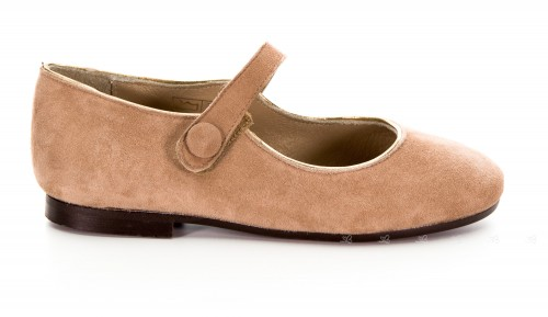 Girls Beige & Gold Suede Leather Mary Janes