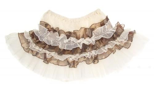 Ivory & Camouflage Tulle Ruffle skirt