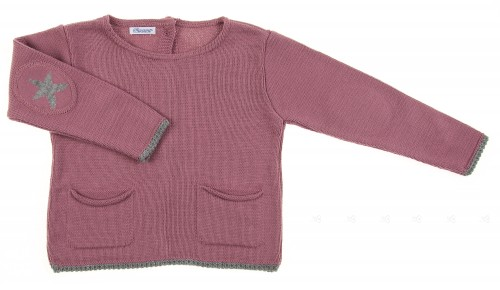 Dark Dusky Pink Knitted Sweater with Star Elbow Patch