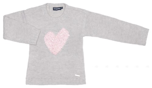Girls Gray Knitted Cardigan with Pink Heart