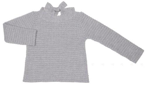 Girls Light Gray Knitted Sweater