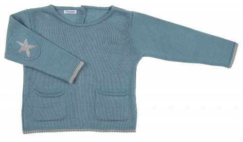 Green Knitted Sweater with Star Elbow Patch