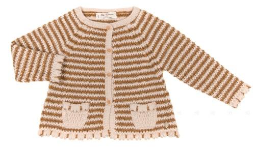 Beige & Brown Merino Knitted Cardigan