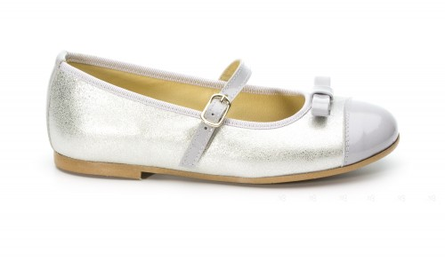 Silver Shimmer Mary Janes with patent toe
