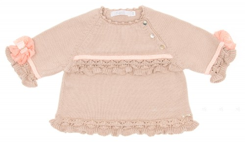 Beige & Pastel Pink Cotton Knitted Sweater