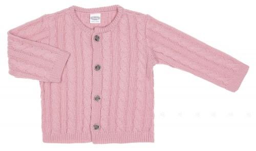 Pink Braided Knit Cardigan