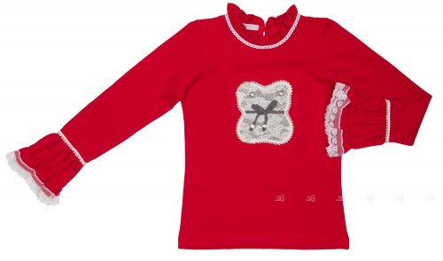 Red & Gray Jersey T-Shirt with Adornments