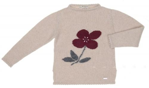 Beige Knitted Sweater with Flower & SWAROVSKI ELEMENTS