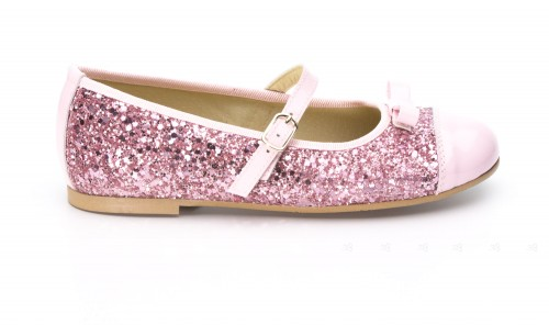 Pink Glitter Mary Janes with patent toe