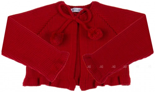 Red knitted cardigan with pompoms