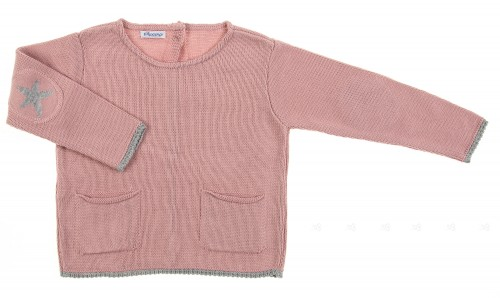 Dusky Pink Knitted Sweater with Star Elbow Patch