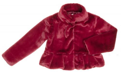 Burgundy Synthetic Fur Peplum Coat