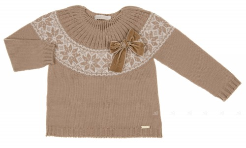Beige & Ivory Fairisle Sweater with Velvet Bow