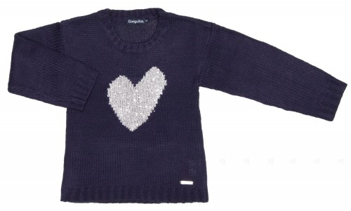 Girls Navy Knitted Cardigan with Silver Heart
