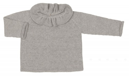 Gray Knitted Sweater & Cardigan With Ruffle Collar