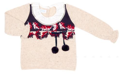 Girls Beige Wool Sweater with Intarsia Woven Pattern