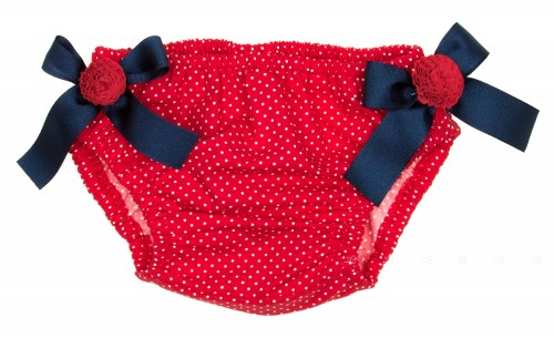 Red Polka Dot Swim Nappy with Anchor