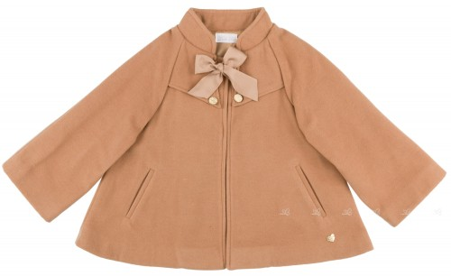Girls Beige Cape with Sleeves & Bow
