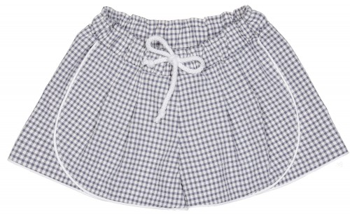Girls Grey & White Gingham Shorts