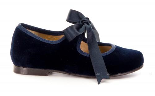 Girls Dark Blue Leather & Velvet Mary Janes