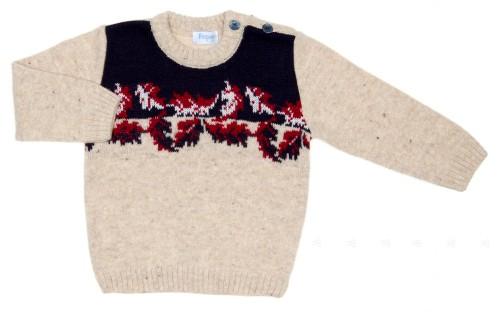 Boys Beige Wool Sweater with Intarsia Woven Pattern
