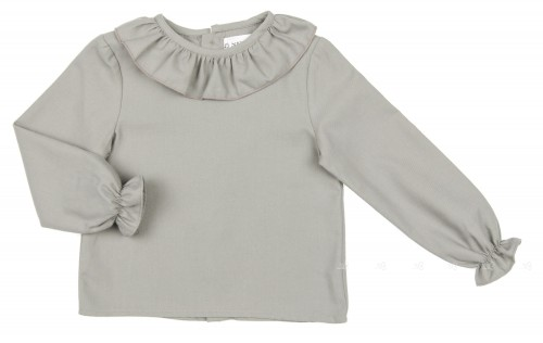 Gray Blouse with Ruffle Collar