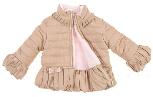Beige & Pink Quilted Puffer Coat