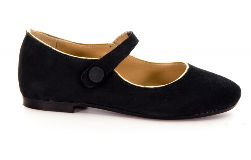 Girls Black & Gold Suede Leather Mary Janes