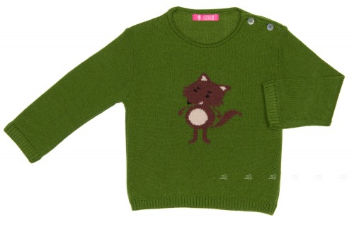 Green & Red Wolf Sweater