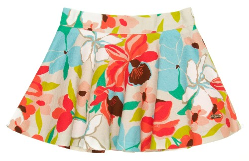 Girls Floral Print Canvas Skirt