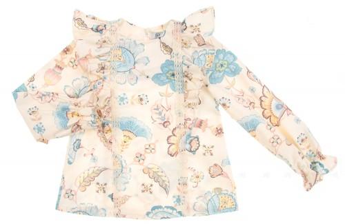 Frilled Pastel Floral Print Blouse
