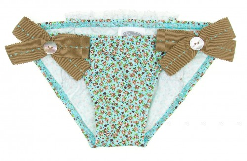 Green Floral Bikini Bottoms with beige bows