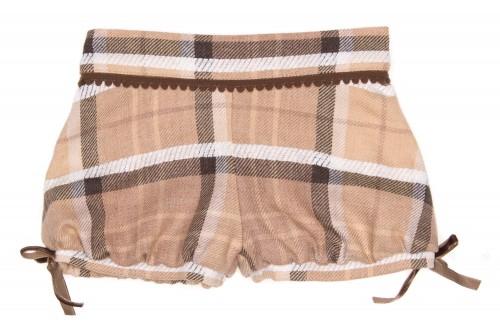 Girls Chocolate & Beige Pleated Short