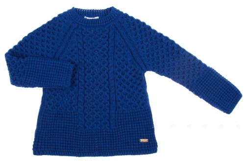 Blue Knitted Wool Sweater with Swarovski Elements